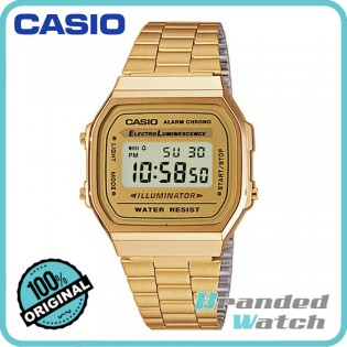 Casio A168WG-9WDF Unisex Retro Vintage Gold Digital Watch A168WG-9W