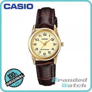 Casio LTP-V001GL-9BUDF Women's Dress Analog Leather Strap Watch LTP-V001GL-9B