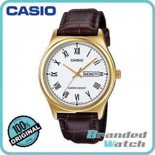 Casio MTP-V006GL-7BUDF Men's Quartz Date Date Display Leather Watch MTP-V006GL-7B