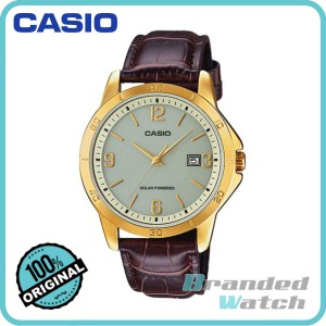 Casio MTP-VS02GL-9ADF Men's Analog Solar Powered Leather Watch MTP-VS02GL-9A