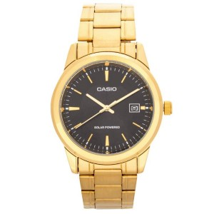 Casio MTP-VS01G-1ADF Analog Solar Powered Gold Plated Watch MTP-VS01G-1A