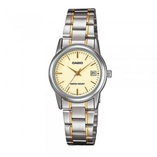 Casio LTP-V002SG-9AUDF Women's Quartz Date 2 Toned Steel Watch LTP-V002SG-9A