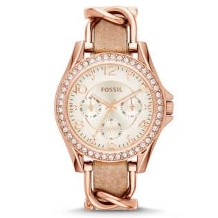 Fossil ES3466 Women's Riley Multifunction Sand Leather Watch