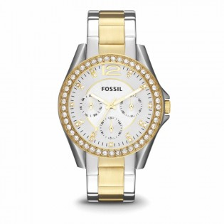 Fossil ES3204 Women's Riley Multifunction Two-Toned Steel Watch