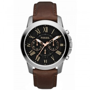 Fossil FS4813 Men's Grant Chronograph Brown Leather Watch