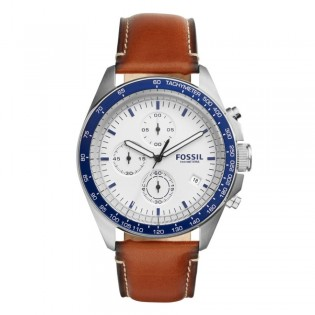 Fossil CH3029 Men's Sport 54 Chronograph Brown Leather Watch