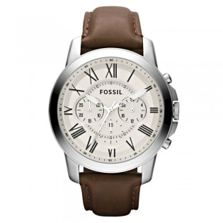 Fossil FS4735 Men's Grant Chronograph Brown Leather Watch