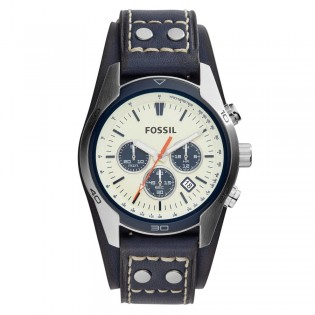 Fossil CH3051 Men's Coachman Chronograph Blue Leather Watch
