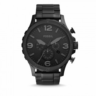 Fossil JR1401 Men's Nate Chronograph Black Steel Watch