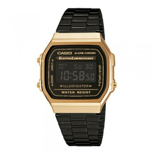 Casio A168WEGB-1B Men's Digital Vintage Retro Black Gold Steel Watch A168WEGB-1 A168WEGB