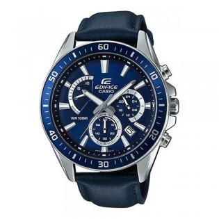 (OFFICIAL MALAYSIA WARRANTY) Casio Edifice EFR-552L-2A Men's Chronograph Leather Strap Watch EFR-552L-2AV