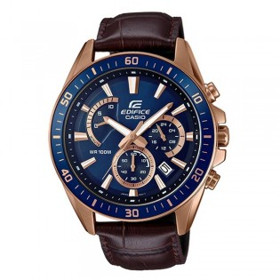 (OFFICIAL MALAYSIA WARRANTY) Casio Edifice EFR-552GL-2A Men's Chronograph Leather Strap Watch EFR-552GL-2AV