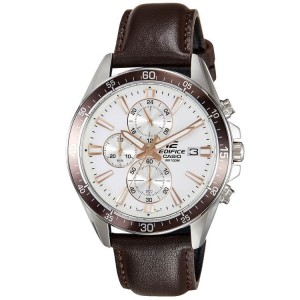 (OFFICIAL MALAYSIA WARRANTY) Casio Edifice EFR-546L-7A Men's Chronograph Leather Strap Watch EFR-546L-7AV