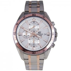 (OFFICIAL MALAYSIA WARRANTY) Casio Edifice EFR-546SG-7A Men's Chronograph 2 Toned Steel Watch EFR-546SG-7AV