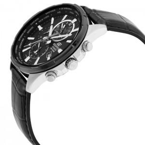(OFFICIAL MALAYSIA WARRANTY) Casio Edifice EFR-304BL-1A Men's Dual Dial World Time Alarm Leather Watch EFR-304BL-1AV
