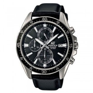 (OFFICIAL MALAYSIA WARRANTY) Casio Edifice EFR-546L-1A Men's Chronograph Date Leather Strap Watch EFR-546L-1AV