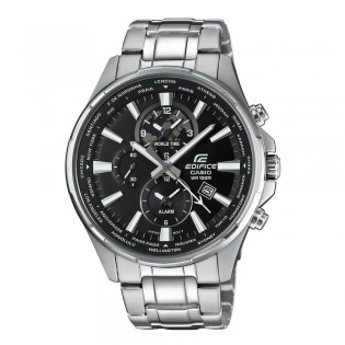 (OFFICIAL MALAYSIA WARRANTY) Casio Edifice EFR-304D-1A Men's Dual Dial World Time Alarm Steel Watch EFR-304D-1AV
