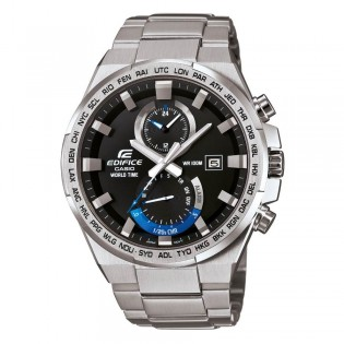 (OFFICIAL MALAYSIA WARRANTY) Casio Edifice EFR-542D-1A Men's Dual Dial World Time Alarm Steel Watch EFR-542D-1AV