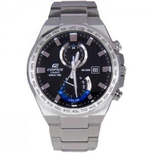 (OFFICIAL MALAYSIA WARRANTY) Casio Edifice EFR-542D-1A Men's Dual Dial World Time Alarm Steel Watch EFR-542D-1AV