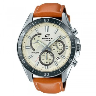 (OFFICIAL MALAYSIA WARRANTY) Casio Edifice EFR-552L-7A Men's Chronograph Date Leather Watch EFR-552L-7AV