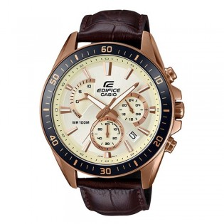 (OFFICIAL MALAYSIA WARRANTY) Casio Edifice EFR-552GL-7A Men's Chronograph Date Leather Watch EFR-552GL-7AV