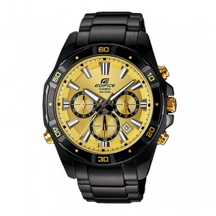 (OFFICIAL MALAYSIA WARRANTY) Casio Edifice EFR-534BK-9A Men's Chronograph LED Backlight Black Steel Watch EFR-534BK-9AV