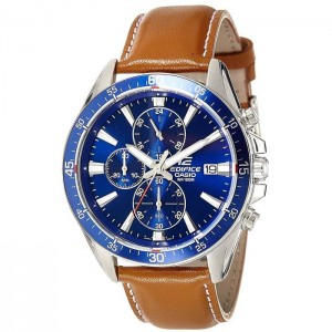 (OFFICIAL MALAYSIA WARRANTY) Casio Edifice EFR-546L-2A Men's Chronograph Date Leather Watch EFR-546L-2AV