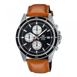 (OFFICIAL MALAYSIA WARRANTY) Casio Edifice EFR-526L-1B Men's Chronograph Date Leather Watch EFR-526L-1BV