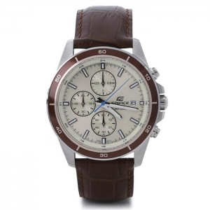 (OFFICIAL MALAYSIA WARRANTY) Casio Edifice EFR-526L-7B Men's Chronograph Date Leather Watch EFR-526L-7BV