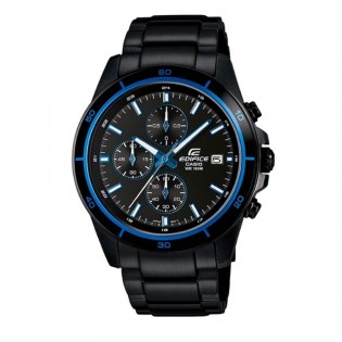 (OFFICIAL MALAYSIA WARRANTY) Casio Edifice EFR-526BK-1A2 Men's Chronograph Date Black Steel Watch EFR-526BK-1A2V