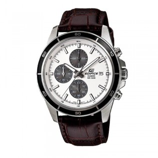 (OFFICIAL MALAYSIA WARRANTY) Casio Edifice EFR-526L-7A Men's Chronograph Date Leather Watch EFR-526L-7AV