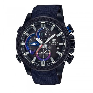 (OFFICIAL MALAYSIA WARRANTY) Casio Edifice EQB-800TR-1A Men's Limited Edition Race Lap Smartphone Link Bluetooth Cloth Band Watch EQB-800TR-1AER