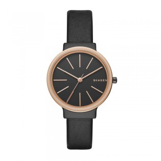 Skagen SKW2480 Women's ancher Quartz Black Leather Watch
