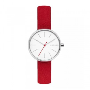 Skagen SKW2615 Women's Signatur Quartz Red Leather Watch