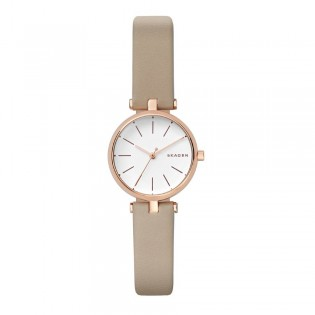 Skagen SKW2643 Women's Signatur Quartz Beige Leather T-Bar Watch