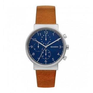 Skagen SKW6358 Men's Ancher Chronograph Brown Leather Watch