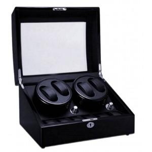 Premium Auto Watch Winder Automatic Rotate Watch Box 4+6 Black + Black PU Leather