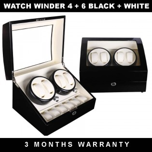 Premium Auto Watch Winder Automatic Rotate Watch Box 4+6 Black + White PU Leather