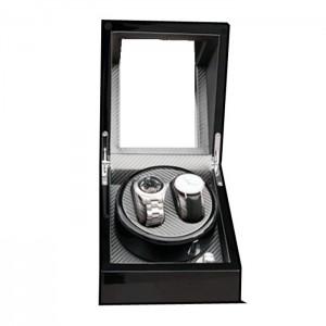 Premium Auto Watch Winder Automatic Rotate Watch Box 2 + 0 Black + Golden Brown Carbon Fiber Leather