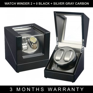 Premium Auto Watch Winder Automatic Rotate Watch Box 2 + 0 Black + Golden Brown Carbon Fiber Leather