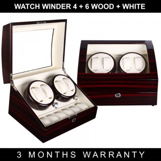 Premium Auto Watch Winder Automatic Rotate Watch Box 4+6 Wood + White PU Leather
