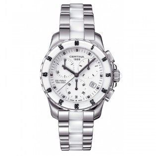 Certina C014.217.11.011.01 Women's DS First Quartz Chronograph Ceramic Watch