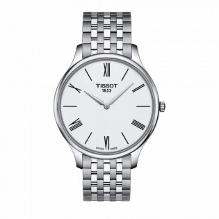 Tissot T063.409.11.018.00 Men's Tradition 5.5 Thin Swiss Quartz Stainless Steel Man Watch (White)