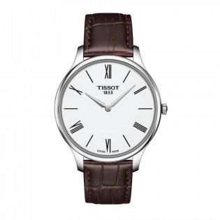 Tissot T063.409.16.018.00 Men's Tradition 5.5 Thin Swiss Quartz Leather Strap Man Watch (White)