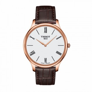 Tissot T063.409.36.018.00 Men's Tradition 5.5 Thin Swiss Quartz Rose Gold Leather Strap Man Watch (White)