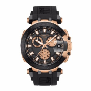 Tissot T115.417.37.051.00 Men's New 2018 T-Race Chronograph Swiss Quartz Black Silicone Strap Man Rose Gold Watch