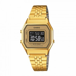 Casio LA680WGA-9BDF Original Women's Vintage Retro Style Series Digital Gold Plated Stainless Steel Gold Square Watch LA680WGA-9B