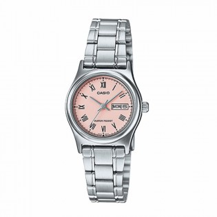 Casio LTP-V006D-4BUDF Original Women's Analog Date Day Small Stainless Steel Pink Dial Watch LTP-V006D-4B