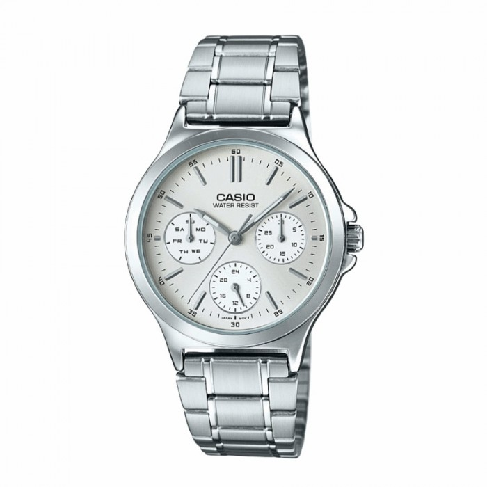 7641c3ae0 Casio LTP-V300D-7AUDF Original Women's Analog Quartz Multifunction Day and  Date Display Stainless Steel Dress Silver Dial Watch LTP-V300D-7A