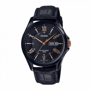 Casio MTP-1384BL-1A2VDF Original Men's Analog Quartz Classic Roman Black Steel Leather Dress Watch MTP-1384BL-1A2